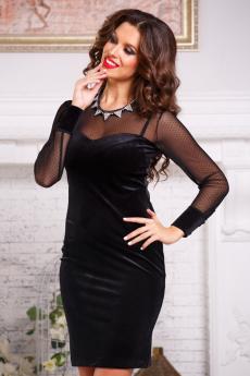 ХИТ продаж: вечернее бархатное платье с сетчатым рукавом Angela Ricci