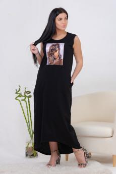 Длинное летнее черное платье Натали