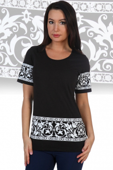 Черная футболка с белым орнаментом Натали